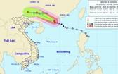 圖為 4 號颱風移動方向。(圖源:國家水文氣象預報中心)