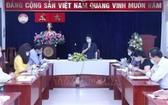 市越南祖國陣線委員會主席蘇氏碧珠(中)在會上發表講話。(圖源:越通社)