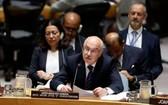 8月23日,在位於紐約的聯合國總部,聯合國負責反恐事務的副秘書長弗拉基米爾·沃龍科夫(前)在聯合國安理會發言。(圖源:新華社)