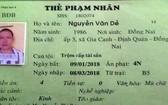阮文耶的囚犯卡。(圖源:警方提供)