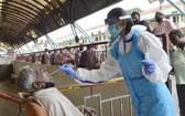 9月1日,在印度班加羅爾,醫務人員為市場商販進行新冠病毒檢測取樣。(圖源:新華社)
