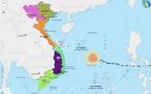 圖為5號颱風移動方向。(圖源:越南氣象據網)
