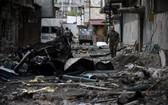 10月4日,納卡地區首府斯捷潘納克特遭到襲擊後場景。 (圖源:路透社)