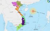 圖為7號颱風的移動方向。(圖源:越南氣象局網)
