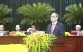 黨中央政治局委員、市委書記阮善仁主持大會並發表講話。(圖源:越通社)
