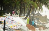 會安市軍民用沙包堆積加固海岸。(圖源:蔡霸勇)