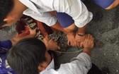 10月22日下午,當地民眾在太平縣新富鄉京5B村的阮文准住房前院捕獲到一條重約15公斤的鱷魚。(圖源:祝璃)