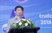 愛滋病防範局長阮黃隆在研討會上發言。(圖源:成山)