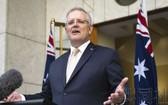 澳總理莫里森將於本月中旬訪日,力爭在與日本首相菅義偉的首腦會談中予以確認《互惠准入協定》。(圖源:共同社)