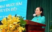市委副書記、市人民議會主席阮氏麗在會議上致開幕詞。(圖源:越勇)