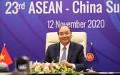 政府總理阮春福主持第二十三次東盟——中國峰會。(圖源:越通社)