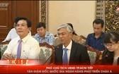 市人委會副主席武文歡(前中)在接見ADB代表團時發言。(圖源:HTV視頻截圖)