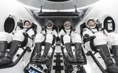 參與執行SpaceX首次商業載人任務的宇航員:從左至右分別為香農·沃克、維克多·格洛弗、邁克爾·霍普金斯以及日本宇航員野口宗一。(圖源:Gett Images)