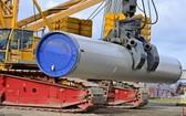 """""""北溪-2""""天然氣管道項目建設工地。(圖源:AFP)"""