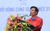 越南文體與旅遊部長、第三十一屆東南亞運動會組委會主任阮玉善在儀式上發表講話。(圖源:互聯網)