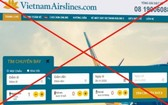 圖為冒充越航售票網站的網頁界面。(圖源:網站截圖)