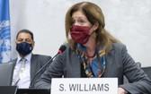 聯合國秘書長利比亞問題代理特別代表斯蒂芬妮‧威廉姆斯通過視頻會議宣佈這一委員會工作啟動。(圖源:聯合國)
