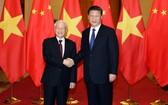 中越兩國領導合照。(圖源:越通社)