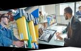 智能眼鏡遠程支援方案讓前端人員(圖左)輕鬆與後端人員(圖右)分享第一人稱視角 。