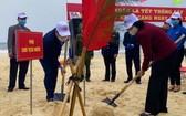 國家副主席阮氏玉盛(右)同廣平省領導在沙灘上栽植防風樹種。(圖源:人民報)