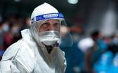 派駐新山一機場的疫情防控工作人員。(圖源:維校)