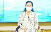 市選舉委員會主席阮氏麗在會上發言。(圖源:市黨部新聞網)
