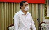 市人委會副主席楊英德在會上發言。(圖源:市新聞媒體中心)