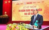 阮春福總理在紀念儀式上致詞。(圖源:人民報網)
