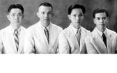 """堤岸文化界的""""四大天王"""",左起:李文雄、曹信夫、陳毓墀、崔瀟然於1949年合影。"""