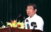 市人委會主席阮成鋒在會上發言。(圖源:越通社)