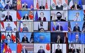 越南國家主席阮春福以視頻方式出席領導人氣候峰會開幕式。(圖源:越通社)