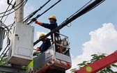 電工在檢查電網安全。