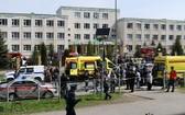 當地時間11日,俄中部城市喀山一所中學發生槍擊案,造成9人死亡,10人受傷。(圖源:Sputnik)