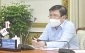 市人委會主席阮成鋒主持會議。(圖源:高昇)