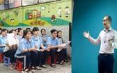 黎廷孝(右)與失聰孩子們接觸,感受到他們渴望學習和實現自己夢想。