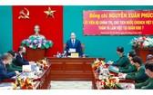 國家主席、國防安全委員會主席阮春福在會議上發表指導意見。(圖源:統一)