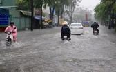 本市昨(25)日上午突降大雨並持續6個多小時,導致多條街道嚴重受淹。(圖源:民越)
