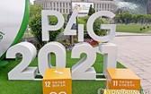 首爾P4G峰會宣傳牌。(圖源:韓聯社)