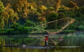 印度尼西亞的一名男子在森林湖泊上撒網捕魚。(圖源:聯合國)