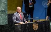馬爾代夫外交部長阿卜杜拉·沙希德在當選聯合國大會第七十六屆會議主席後走上講台並發言。(圖源:聯合國)