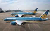圖為停泊在停機位上的兩架越航客機。(圖源:垂楊)