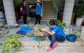 防疫隊伍的婦女正在包裝蔬菜送到隔離區。
