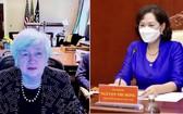 國家銀行行長阮氏紅(右圖)與美國財政部長珍妮特‧耶倫舉行視像會議。