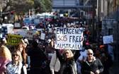悉尼反防疫示威。(圖源:互聯網)