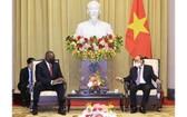 國家主席阮春福(右)接見美國國防部長勞埃德‧奧斯汀。(圖源: 越通社)