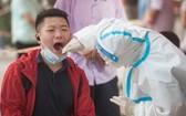 8月3日,武漢市民在東西湖區聯通佳苑小區檢測點進行核酸檢測。(圖源:新華社)
