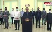 馬來西亞總理穆希丁13日發表電視直播說明。 (圖源:聯合早報)