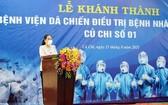 市人民議會主席阮氏麗在落成儀式上致詞。(圖源:孟和)