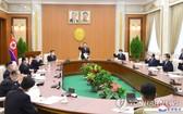 朝鮮最高人民會議第十六屆常任委員會全體會議24日在平壤萬壽台議事堂舉行。(圖源:韓聯社/朝中社)