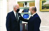 美總統拜登(左)與以色列總理貝內特舉行會晤。